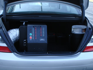 RF jammer installed in vehicle trunk